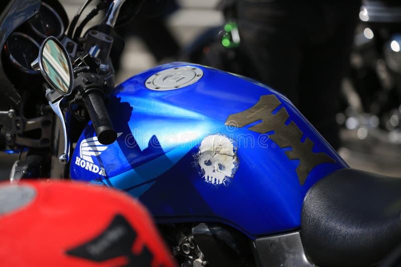 Honda sport bike gas tank. Background photo, close-up royalty free stock photos