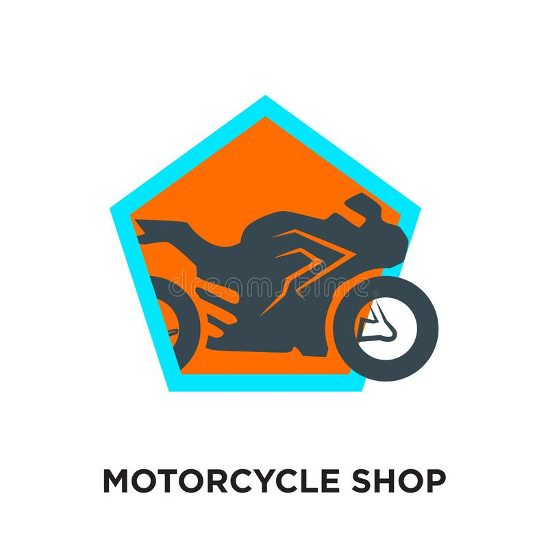 motorcycle shop logo isolated on white background for your web vector illustration