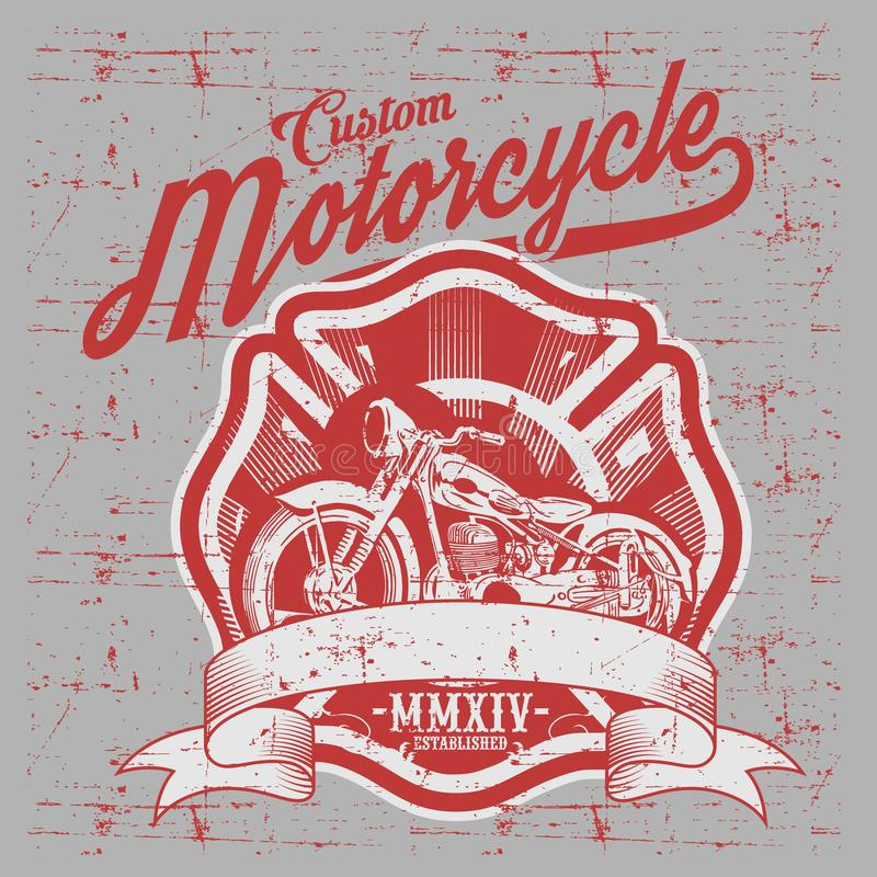 Motorcycle. Side view. Hand drawn classic chopper bike in engraving style stock illustration