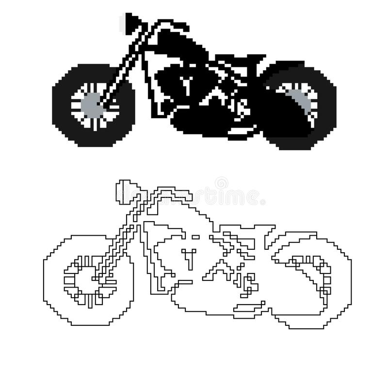 Motorcycle In The Style Of Pixel Art Stock Vector