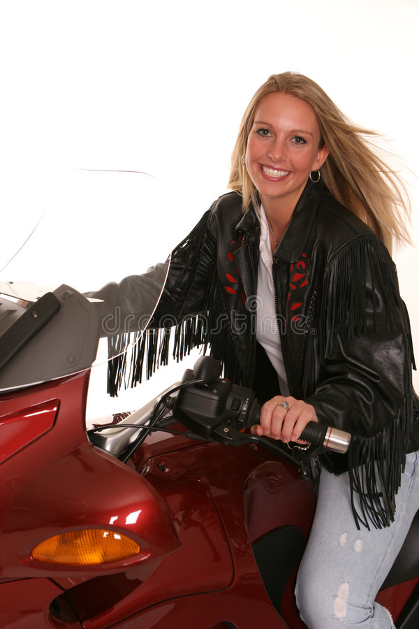 Motorcycle teen windy hair royalty free stock photo