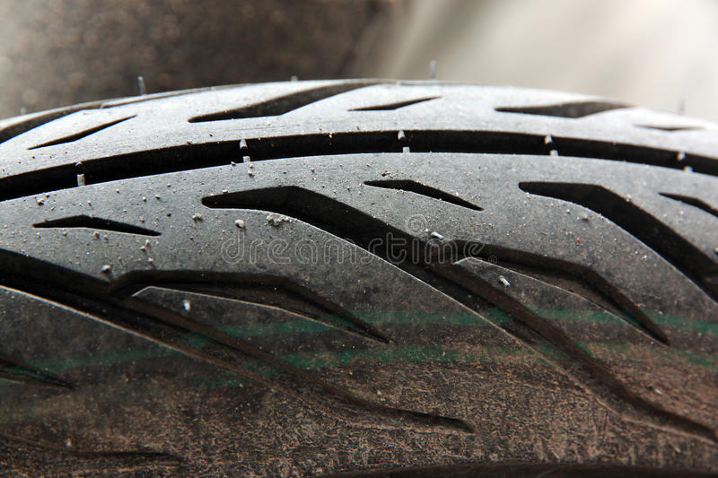 Motorcycle tire. Closeup Motorcycle tire Style stock photography