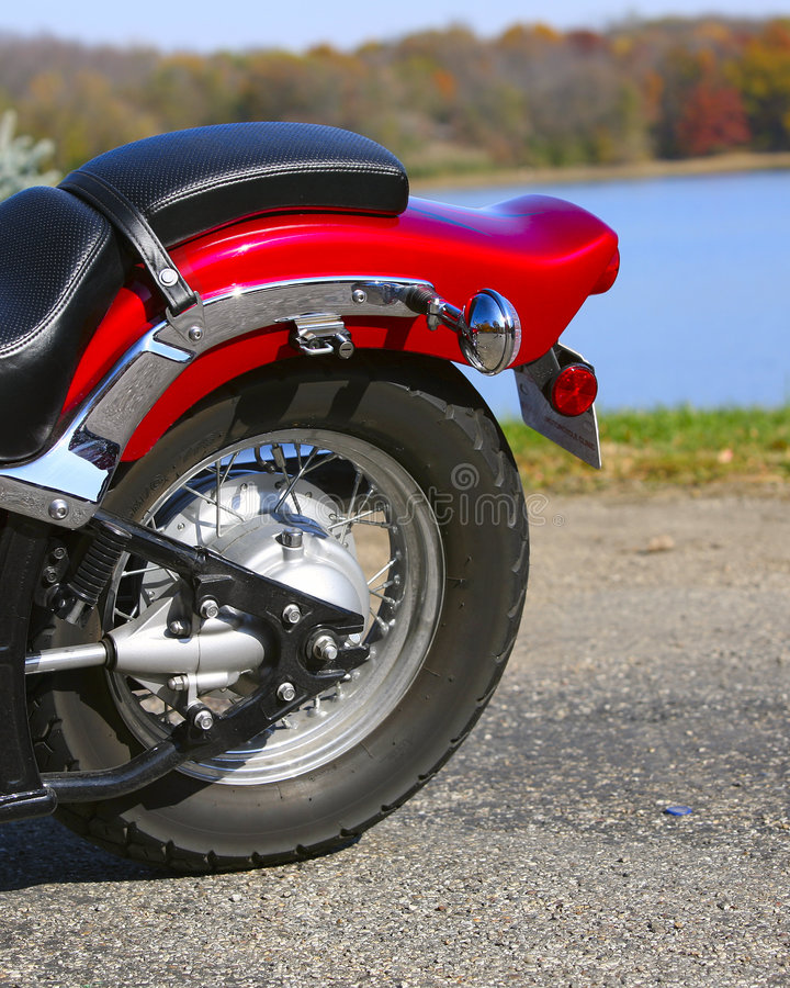 Motorcycle tire. A motorcycle tire on a nice day stock photos