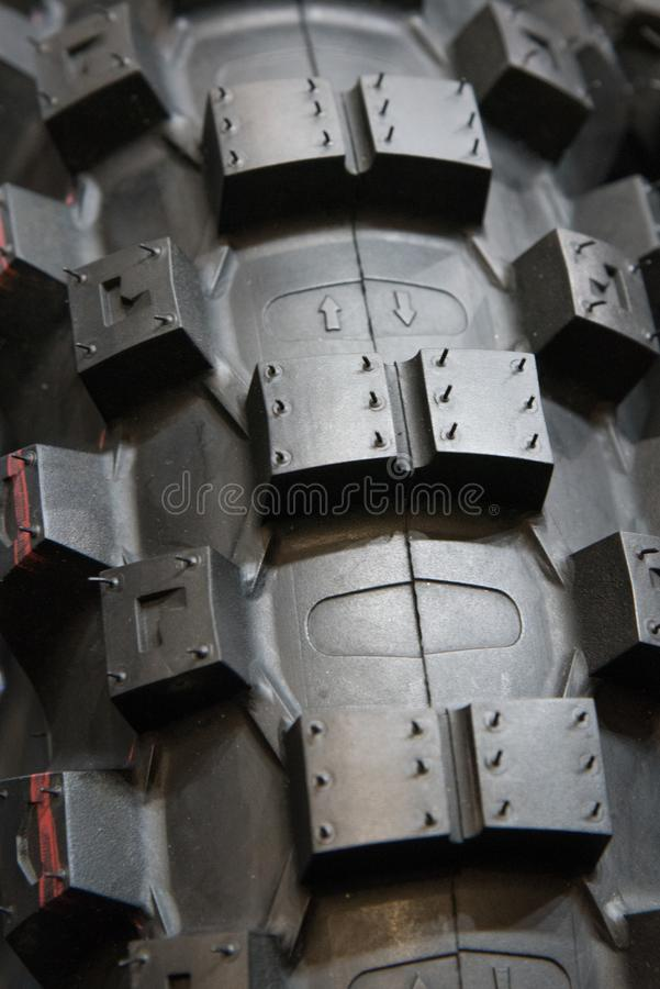 Motorcycle tire - dirt bike. In detail stock images