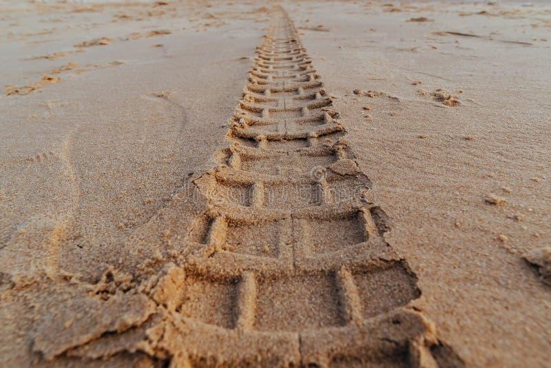Motorcycle tire tracks on the beach. Closeup Motorcycle tire tracks on the beach royalty free stock photos