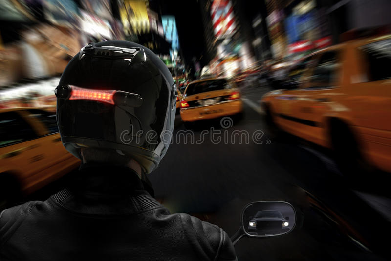 Motorcycle In Traffic Jam-Zoom Blur Royalty Free Stock Photography