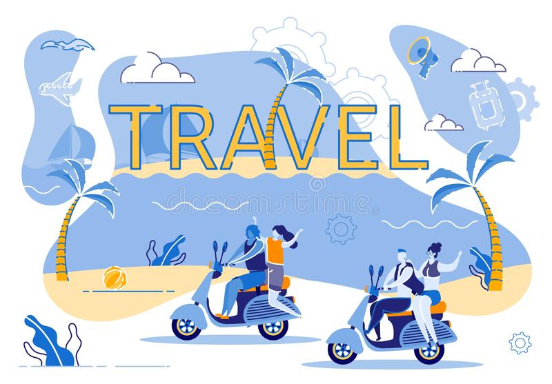 Motorcycle Travel Along Coast an Exotic Island. Two Young Loving Couples Travel by Moped Along Ocean Around Country. Summer Holiday Happy Man and Woman. Fast royalty free illustration