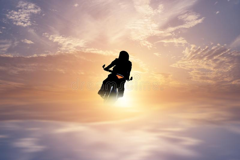 Motorcycle illustrations. Motorcycle Travel Travel Sunrise and Sunset stock photography