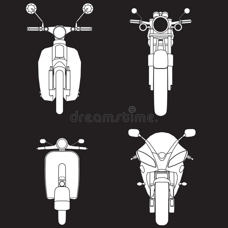 Motorcycle Types. White icons of Motorcycle Types Objects vector style royalty free illustration
