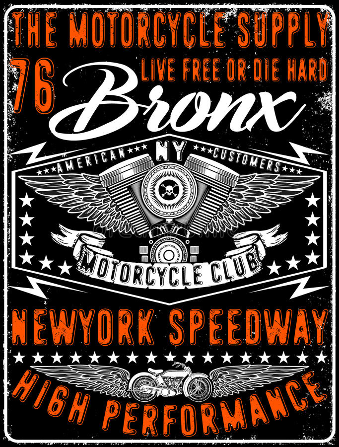 Motorcycle typography, vintage motor, t-shirt graphics, vectors stock illustration