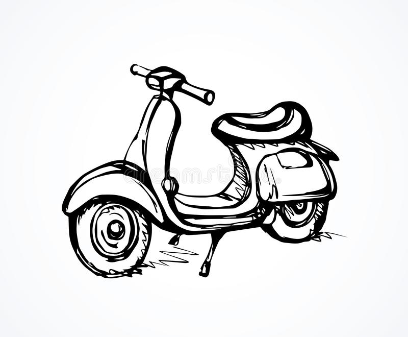 Motorcycle. Vector drawing. Big power cruiser sportbike stand on light backdrop. Freehand linear dark ink hand drawn picture logo sketchy in art scribble retro vector illustration