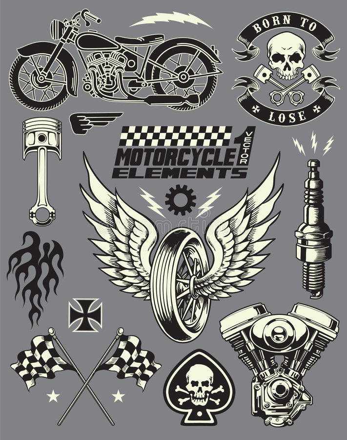 Download Motorcycle Vector Elements Set Stock Vector - Illustration: 31718740