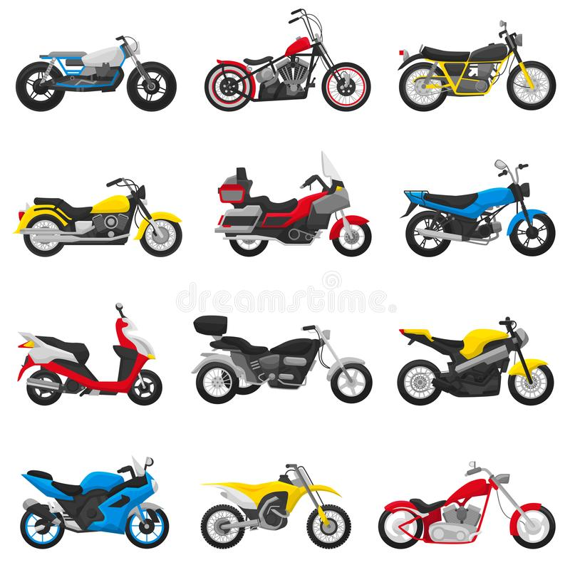 Motorcycle vector motorbike and motoring cycle ride transport chopper illustration motorcycling set of scooter motor. Bike isolated on white background stock illustration