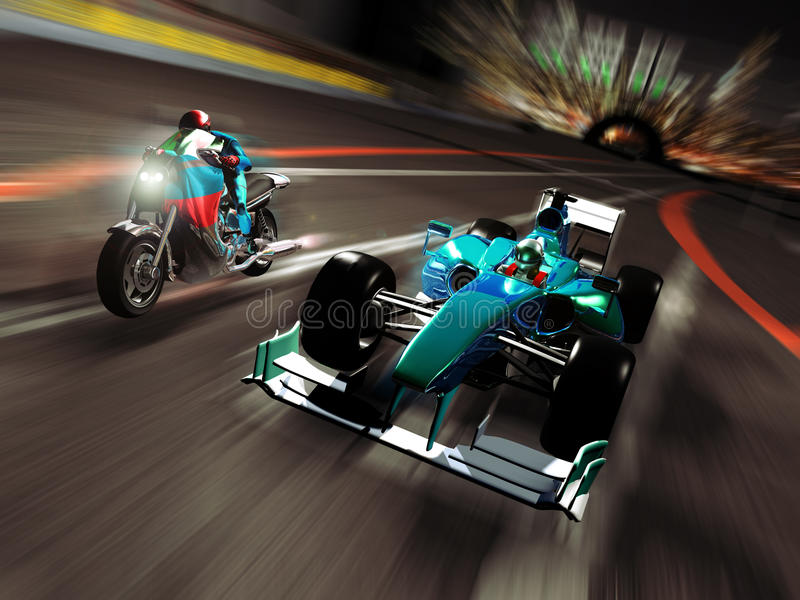 Motorcycle versus formula one. On a race circuit, competition between a powerful motorcycle and a formula one car stock illustration
