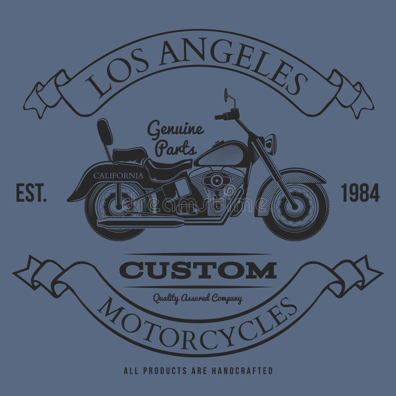 Motorcycle vintage graphics, t-shirt typography, Vintage royalty free illustration