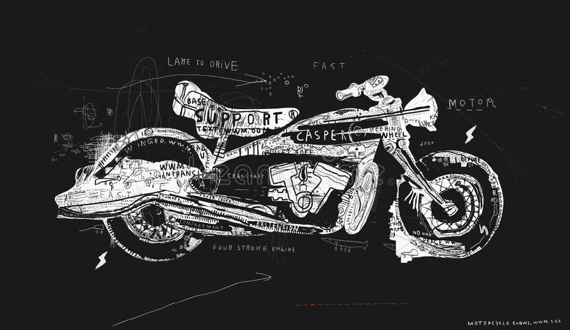 Motorcycle. Which consists of a plurality of symbols stock illustration