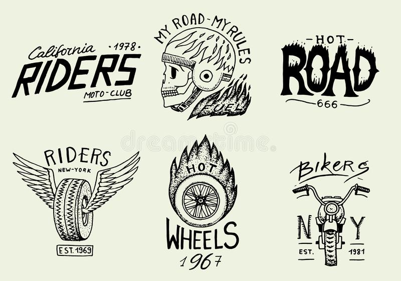 Motorcycles and biker club templates. Vintage custom skull emblems, labels badges for t shirt. Monochrome retro style vector illustration