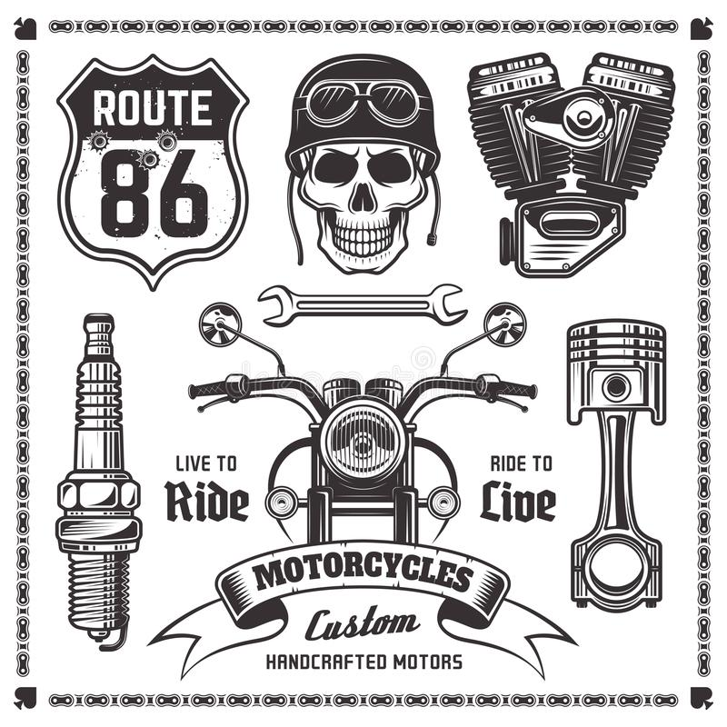 Motorcycles and bikers vector black elements stock illustration