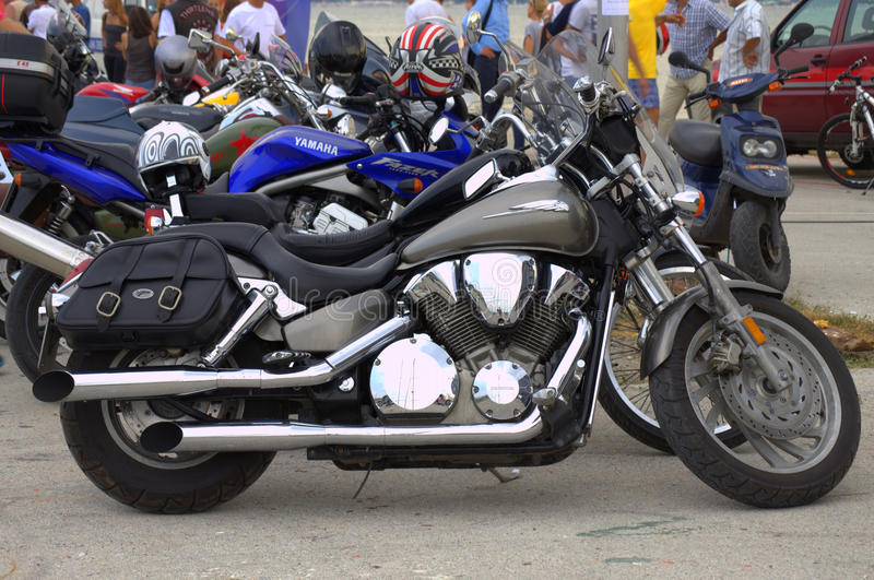 Motorcycles parked. In the street.n royalty free stock photo