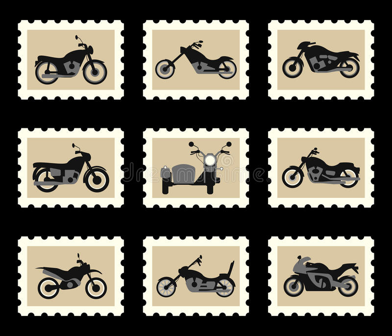 Motorcycles on postage stamps stock illustration