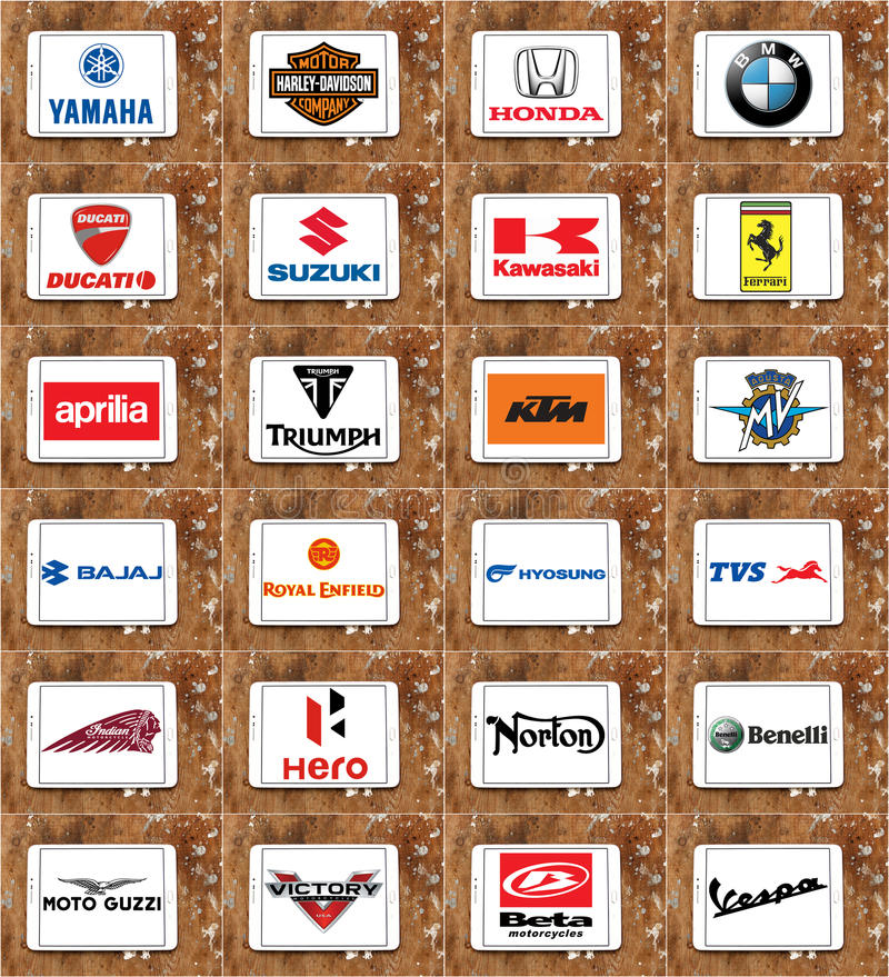 Motorcycles producers logos and brands royalty free stock photo