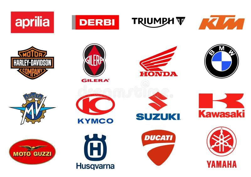 Motorcycles producers logos royalty free illustration
