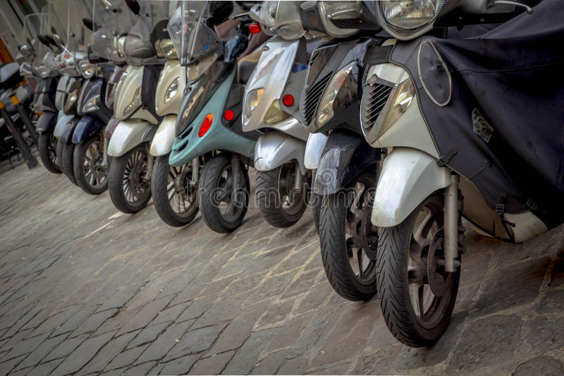 Motorcycles in the streets of Italian cities. Motorcycles and motorbikes in the streets of Italian cities stock image