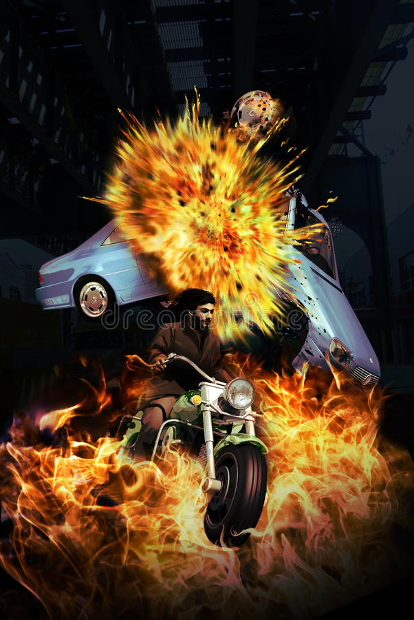The motorcyclist. Motorcyclist escaping from a car explosion in an action scene stock illustration