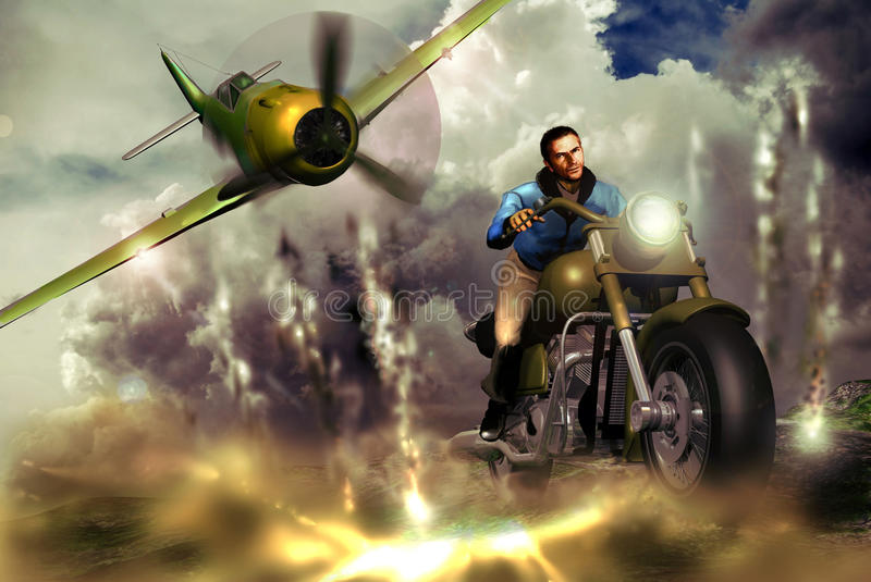 Motorcyclist and fighter royalty free illustration