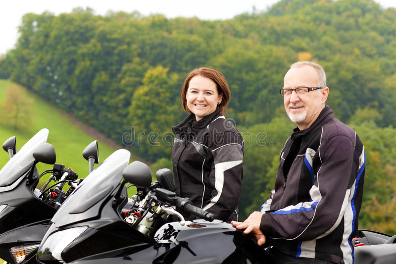 Motorcyclists on tour royalty free stock photo