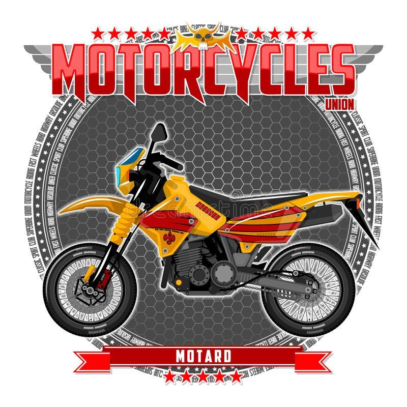 Motorcykel av en bestämd typ, på en symbolisk bakgrund stock illustrationer