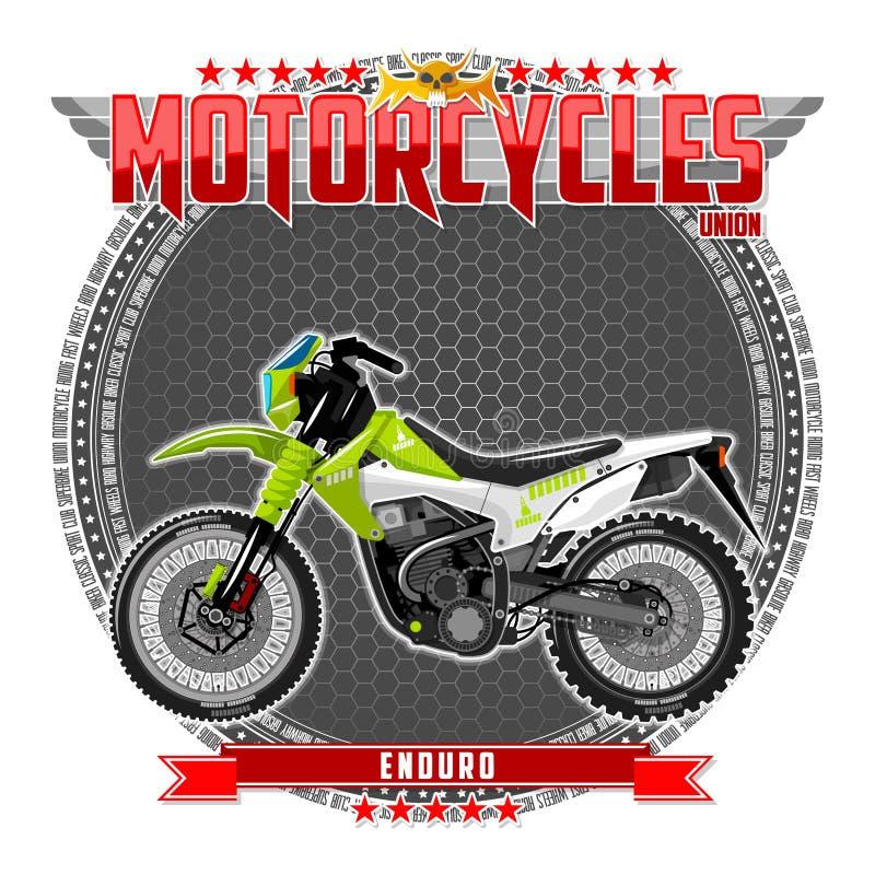 Motorcykel av en bestämd typ, på en symbolisk bakgrund vektor illustrationer
