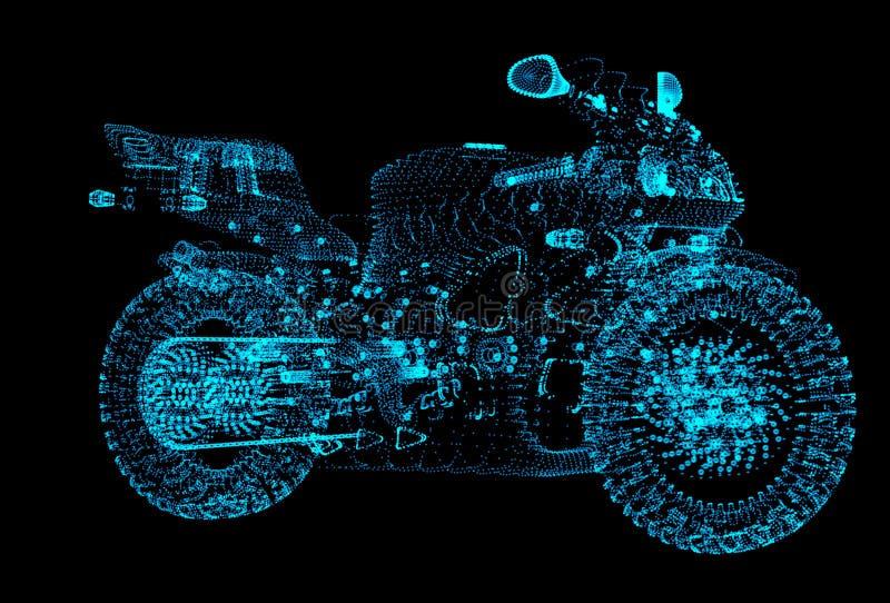 Motorcykel av partiklarna Mopeden består av små prickar stock illustrationer