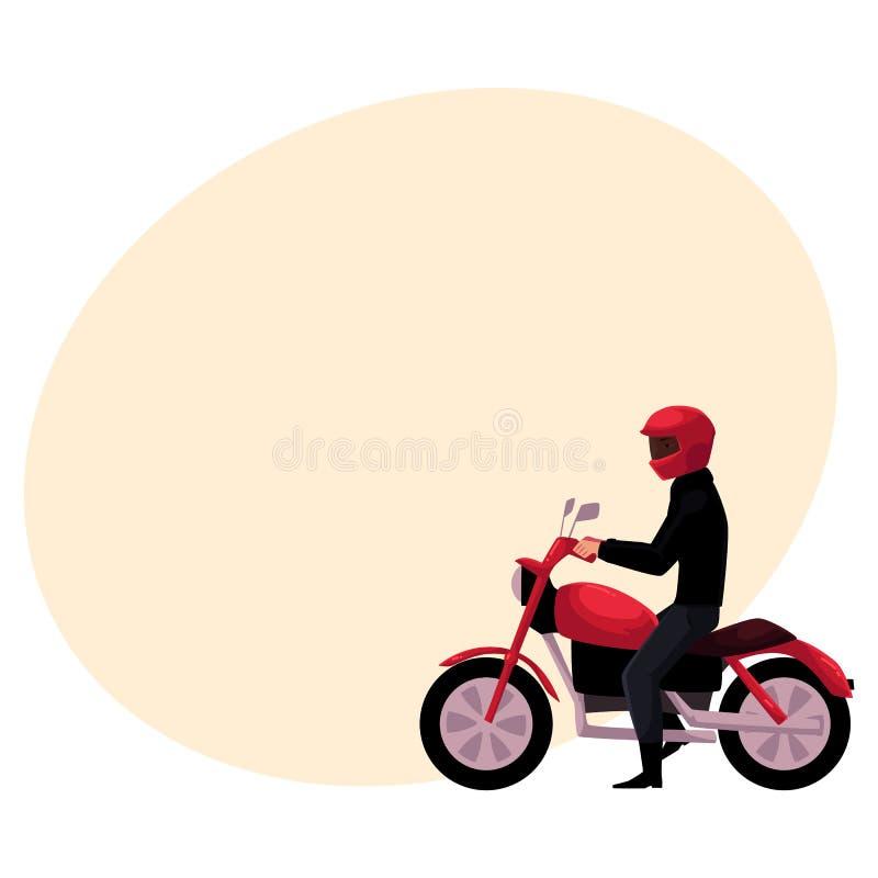 Motorcykel bärande hjälm för mopedryttare, sidovew, stads- motorisk transport royaltyfri illustrationer