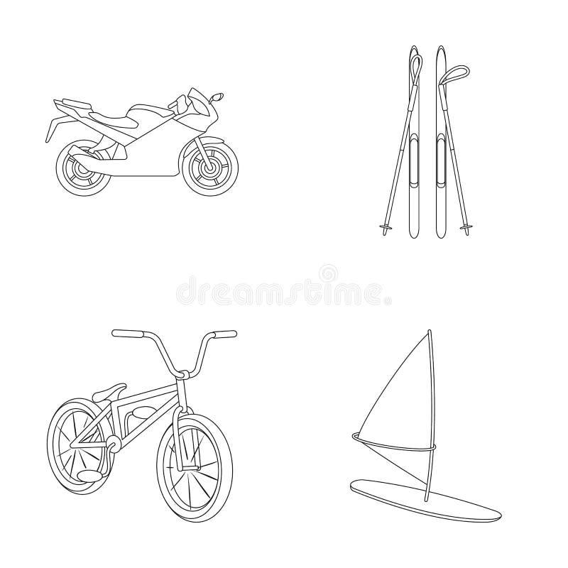 Motorcykel bergskidåkning och att cykla och att surfa med en segla Extrema symboler för sportuppsättningsamling i översikt utform royaltyfri illustrationer