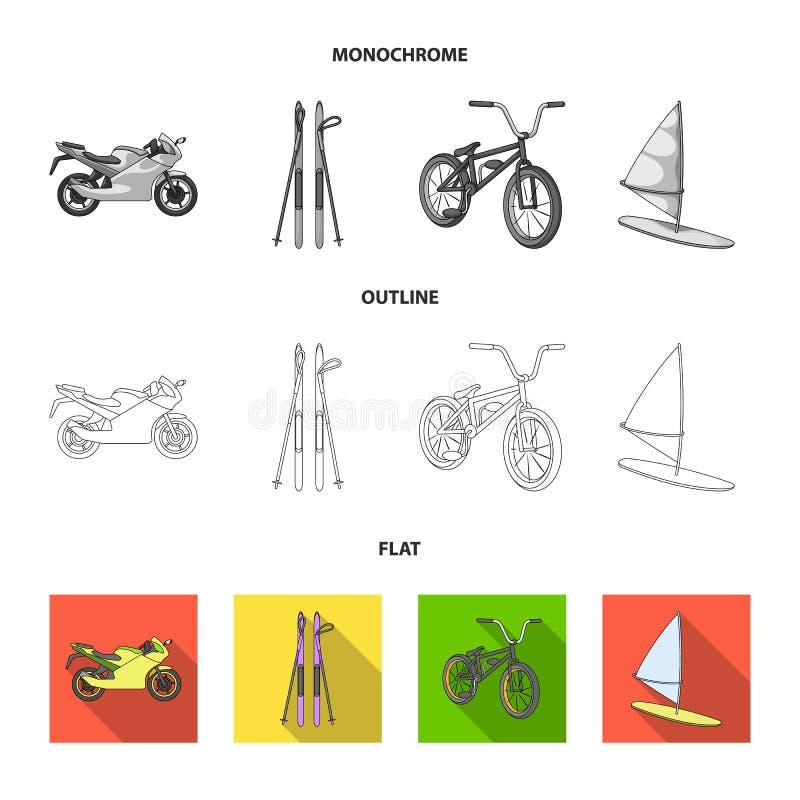 Motorcykel bergskidåkning och att cykla och att surfa med en segla Extrema symboler för sportuppsättningsamling i lägenheten, öve royaltyfri illustrationer