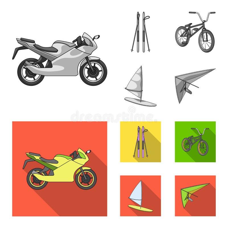 Motorcykel bergskidåkning och att cykla och att surfa med en segla Extrema symboler för sportuppsättningsamling i monokrom, lägen royaltyfri illustrationer