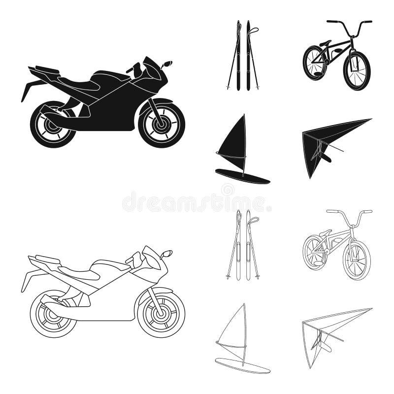Motorcykel bergskidåkning och att cykla och att surfa med en segla Extrema symboler för sportuppsättningsamling i svart, översikt royaltyfri illustrationer