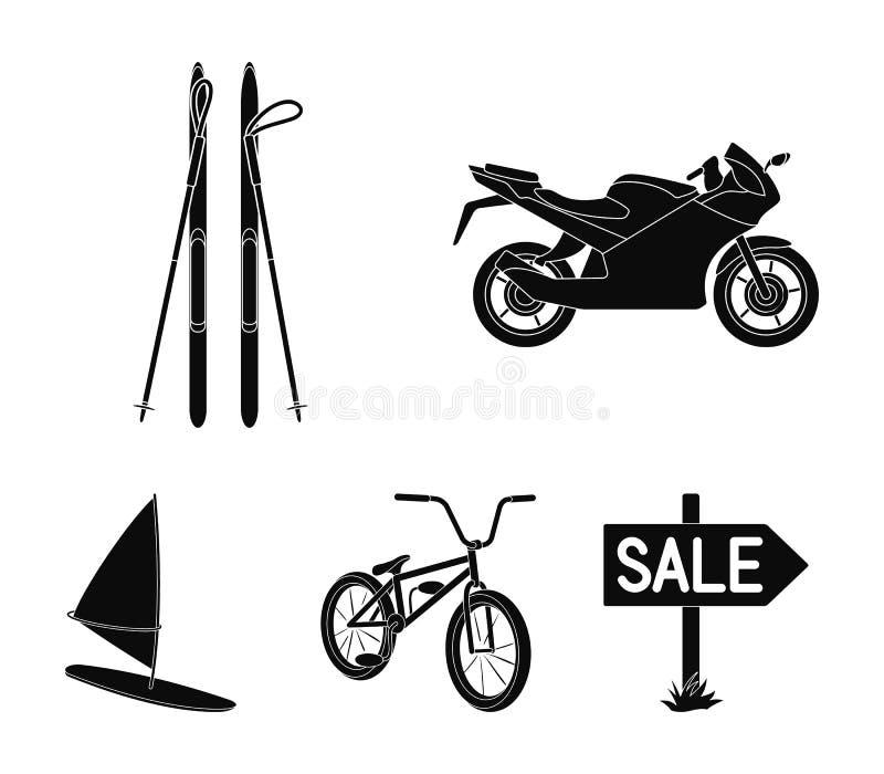 Motorcykel bergskidåkning och att cykla och att surfa med en segla Extrema symboler för sportuppsättningsamling i svart stilvekto royaltyfri illustrationer