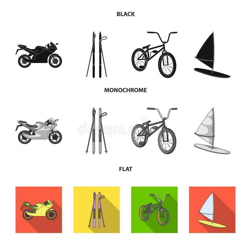 Motorcykel bergskidåkning och att cykla och att surfa med en segla Extrema symboler för sportuppsättningsamling i svart, lägenhet royaltyfri illustrationer