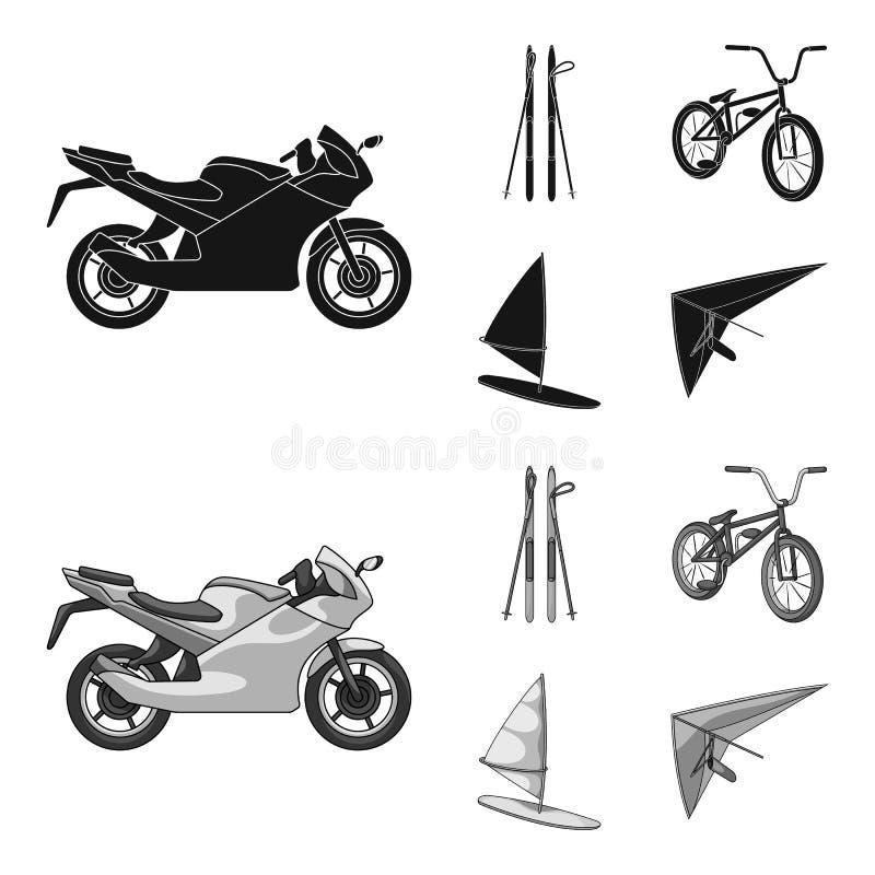 Motorcykel bergskidåkning och att cykla och att surfa med en segla Extrema symboler för sportuppsättningsamling i svart, monochro vektor illustrationer