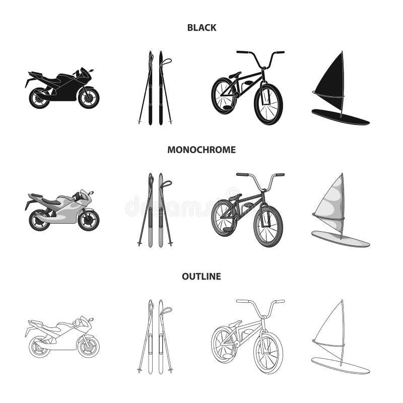 Motorcykel bergskidåkning och att cykla och att surfa med en segla Extrema symboler för sportuppsättningsamling i svart, monokrom vektor illustrationer