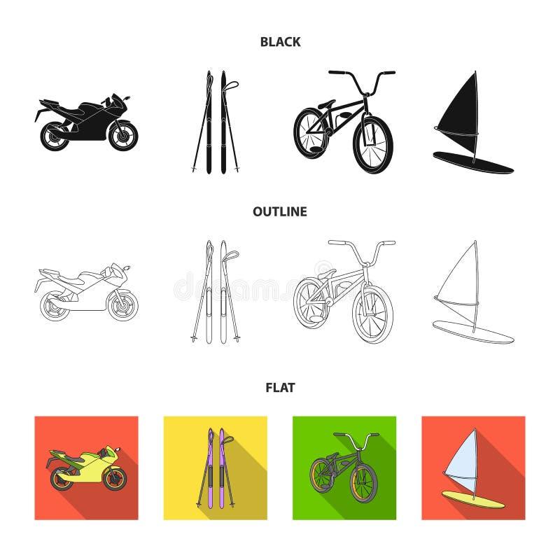 Motorcykel bergskidåkning och att cykla och att surfa med en segla Extrema symboler för sportuppsättningsamling i tecknad film ut royaltyfri illustrationer