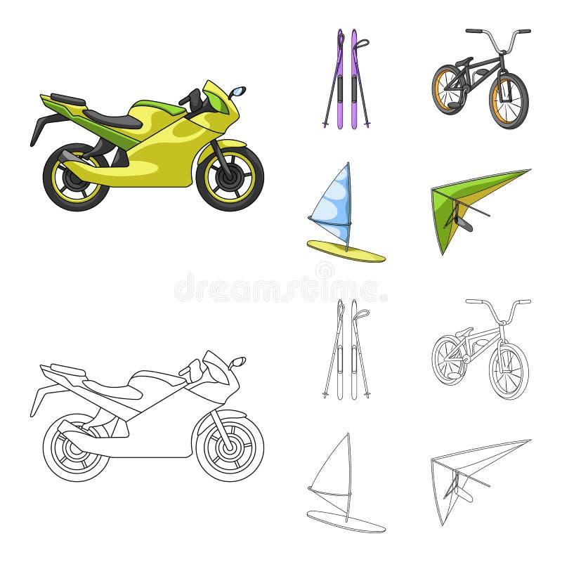 Motorcykel bergskidåkning och att cykla och att surfa med en segla Extrema symboler för sportuppsättningsamling i tecknade filmen vektor illustrationer
