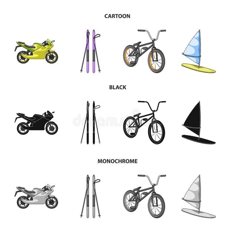 Motorcykel bergskidåkning och att cykla och att surfa med en segla Extrema symboler för sportuppsättningsamling i tecknade filmen royaltyfri illustrationer