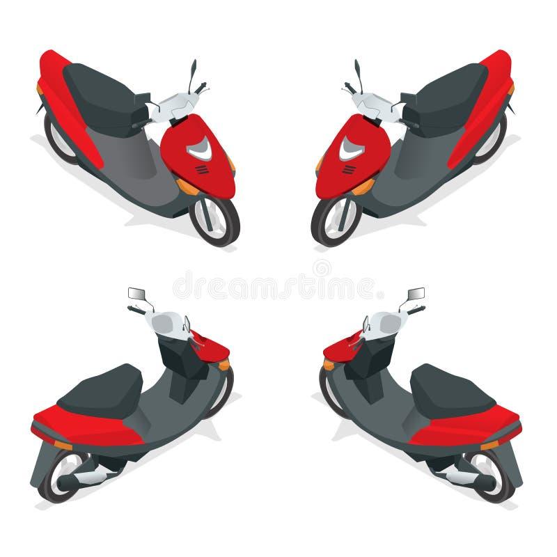 Motorcykel cykel, moped, sparkcykel Plan isometrisk högkvalitativ transportsymbol för stad 3d vektor illustrationer