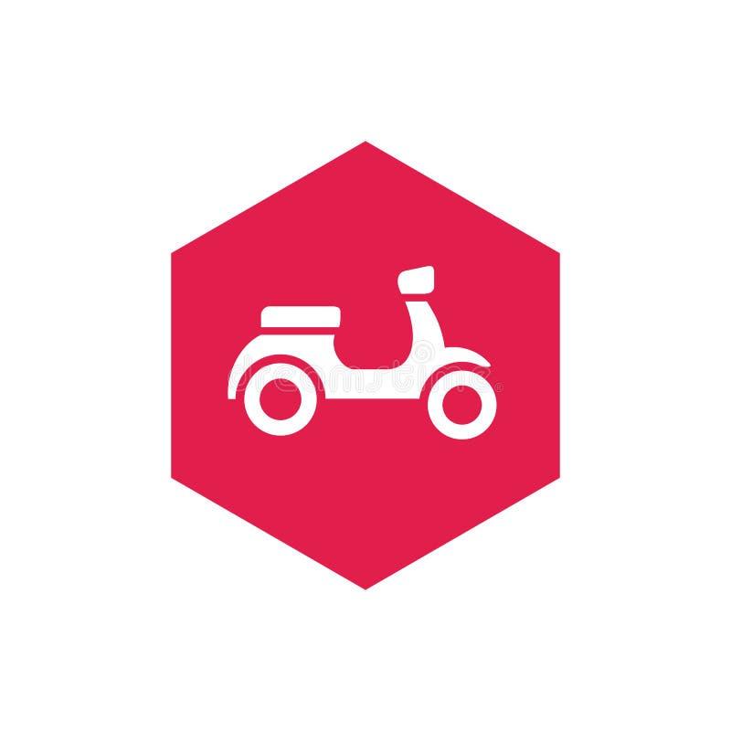 Motorcykel- eller sparkcykelcykel och sexhörningsShape symbol, vektorillustration stock illustrationer