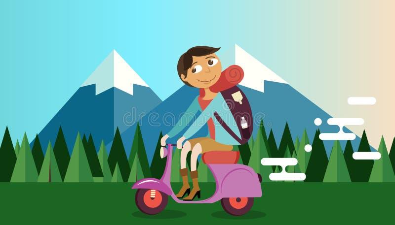 Motorcykel för cykel för manridningvespa i lopp för illustration för vektor för bakgrund för naturbergskog stock illustrationer