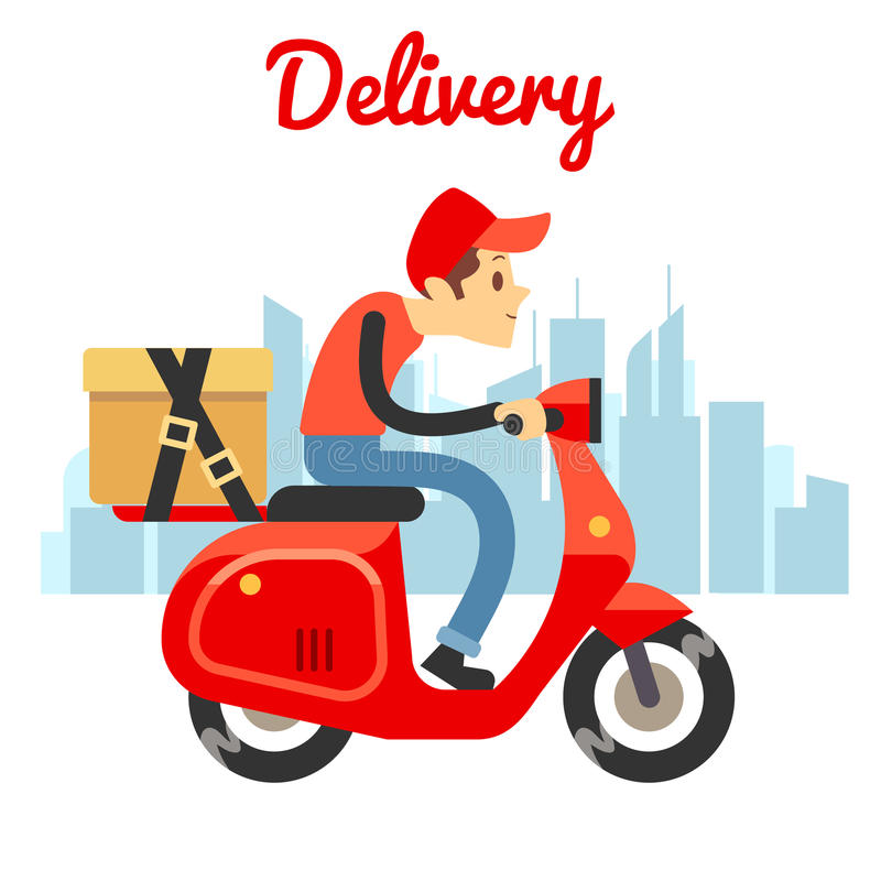 Motorcykel för sparkcykel för leveranskurirritt stock illustrationer