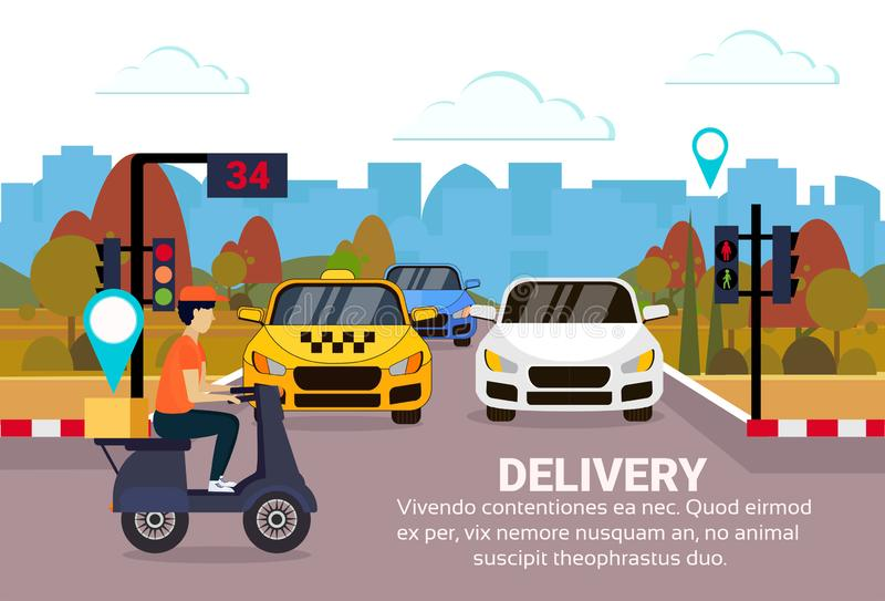 Motorcykel för transport för trafikljus för stad för destination för etikett för geo för begrepp för ask för sparkcykel för ritt  vektor illustrationer